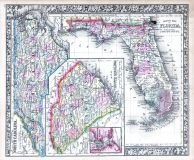 North Carolina, South Carolina, Florida, World Atlas 1864 Mitchells New General Atlas